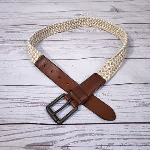 Fossil leather and knit belt brown/ cream size 32
